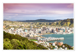 Premiumposter  Wellington in the morning, New Zealand - Matteo Colombo