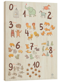 Trätavla  Animal numbers for the nursery - Petit Griffin
