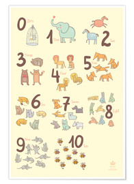Poster  Zoological numbers for nursery - Petit Griffin