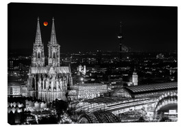 Canvastavla  Blutmond over the Cologne Cathedral - rclassen