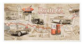 Premiumposter  Route 66 Map - Georg Huber