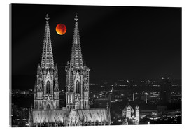 Akrylglastavla  Blood Red Moon Cologne Cathedral - rclassen