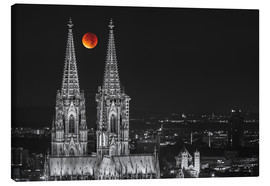 Canvastavla  Blood Red Moon Cologne Cathedral - rclassen