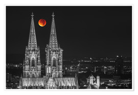 Premiumposter  Blood Red Moon Cologne Cathedral - rclassen