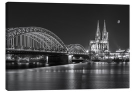 Canvastavla  Cologne Cathedral and Hohenzollern Bridge at night (b / w) - rclassen