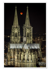 Premiumposter  Blood moon shines over Cologne Cathedral - rclassen