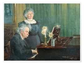 Premiumposter Edvard Grieg accompanying his Wife