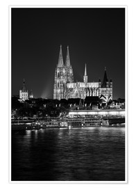 Premiumposter  Cologne Cathedral at night - rclassen