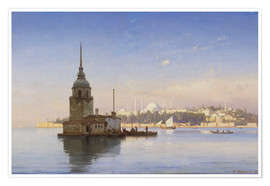 Premiumposter  The Maiden's Tower (Maiden Tower) with Istanbul in the background - Carl Neumann