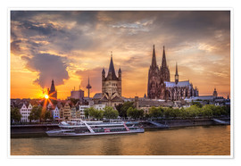 Premiumposter  Cologne Cathedral and Great St Martin - Jens Korte