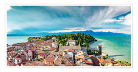 Premiumposter Sirmione in Italy, with Lake Garda