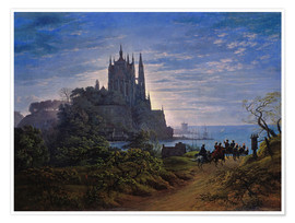 Premiumposter Gothic church on a cliff by the sea