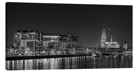 Canvastavla  Cologne night Skyline black / white - rclassen