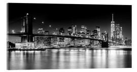 Akrylglastavla  New York City Skyline with Brooklyn Bridge (monochrome) - Sascha Kilmer