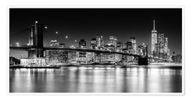 Premiumposter  New York City Skyline with Brooklyn Bridge (monochrome) - Sascha Kilmer