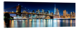 Akrylglastavla  New York City Skyline with Brooklyn Bridge (panoramic view) - Sascha Kilmer