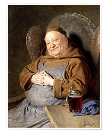 Premiumposter  Sitting monk with tankards - Eduard Grützner