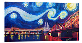 Akrylglastavla  Starry Night in Cologne - Van Gogh inspirations on Rhine with Cathedral and Hohenzollern Bridge - M. Bleichner
