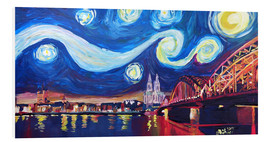 PVC-tavla  Starry Night in Cologne - Van Gogh inspirations on Rhine with Cathedral and Hohenzollern Bridge - M. Bleichner