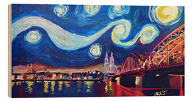 Trätavla  Starry Night in Cologne - Van Gogh inspirations on Rhine with Cathedral and Hohenzollern Bridge - M. Bleichner