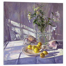 Akrylglastavla  Still Life Flowers and Lemons - Timothy Easton