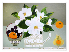 Poster  White Camellia and Tangerines - Vanessa Bowman