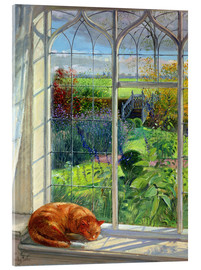 Akrylglastavla  Cat in the window in summer - Timothy Easton