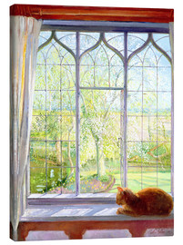 Canvastavla  Cat in window in spring - Timothy Easton