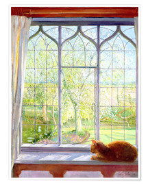 Premiumposter  Cat in window in spring - Timothy Easton