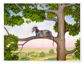 Premiumposter Whippet on the tree