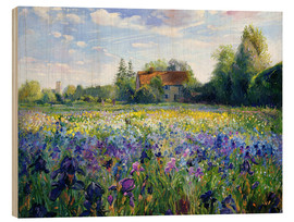 Trätavla  Field of flowers in the sunset - Timothy Easton