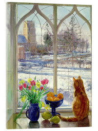 Akrylglastavla  Snow Shadows and Cat - Timothy Easton
