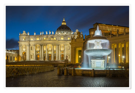 Premiumposter  Fountain at the St. Peters square Roma - FineArt Panorama