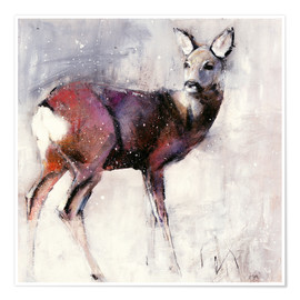 Premiumposter  Shy deer in the snow - Mark Adlington