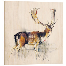 Trätavla  Study of a Stag - Mark Adlington