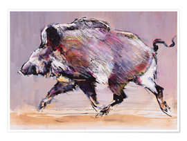 Poster  Running boar - Mark Adlington