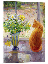 Akrylglastavla  Cat with Flowers in the window - Timothy Easton