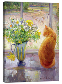 Canvastavla  Cat with Flowers in the window - Timothy Easton