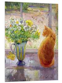 PVC-tavla  Cat with Flowers in the window - Timothy Easton