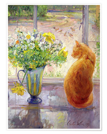 Premiumposter  Cat with Flowers in the window - Timothy Easton