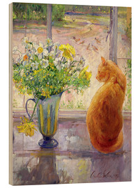 Trätavla  Cat with Flowers in the window - Timothy Easton