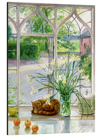 Aluminiumtavla  Sleeping cat in the window - Timothy Easton