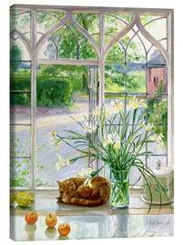 Canvastavla  Sleeping cat in the window - Timothy Easton