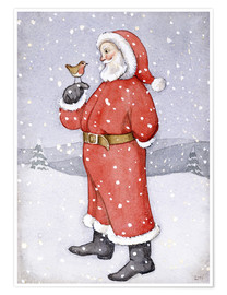 Premiumposter  Father Christmas and a Robin - Lavinia Hamer