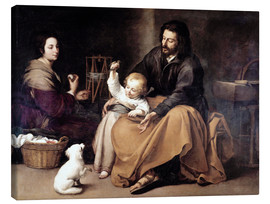 Canvastavla  The Holy Family with the Little Bird - Bartolome Esteban Murillo