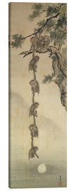 Canvastavla  Monkeys reaching for the Moon - Japanese School