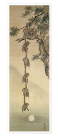 Premiumposter  Monkeys reaching for the Moon - Japanese School