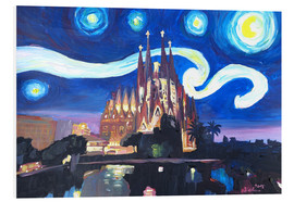 PVC-tavla  Starry Night in Barcelona - M. Bleichner