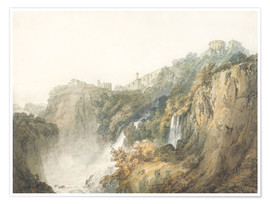 Premiumposter  Tivoli with the Temple of the Sibyl and the Cascades - Joseph Mallord William Turner