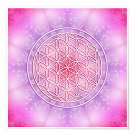 Poster  Flower of life - unconditional love - Dolphins DreamDesign